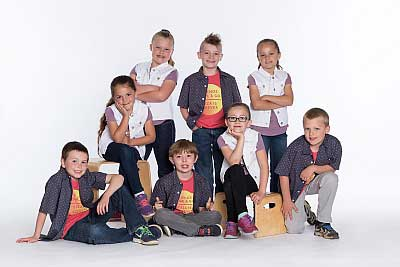 Group of young boy and girl dancers
