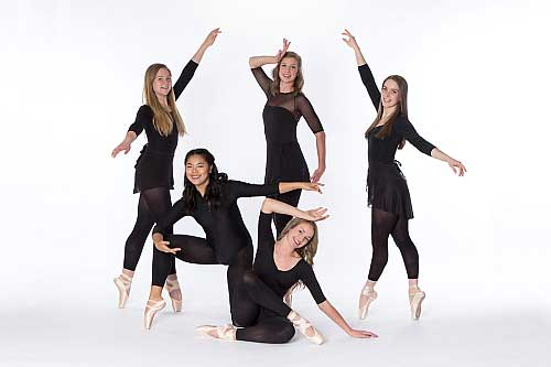 Group of teenage female ballerinas